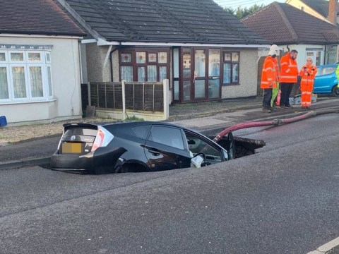 Sinkhole swallows car during Storm Ciara leaving driver 'lucky to be alive'