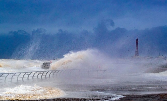 Waves crash over Blackpool waterfront during storm ciara