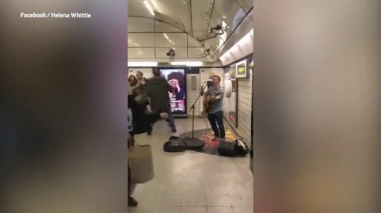 Busker gets the conga