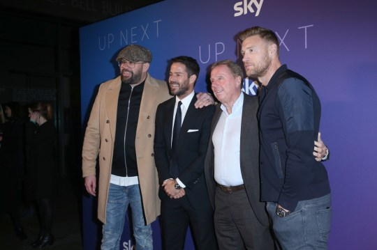 (left to right) Tom Davis, Jamie Redknapp, Harry Redknapp and Andrew 'Freddie' Flintoff arrives for the Sky Up Next showcase at the Tate Modern, London. PA Photo. Picture date: Wednesday February 12, 2020. Photo credit should read: Isabel Infantes/PA Wire