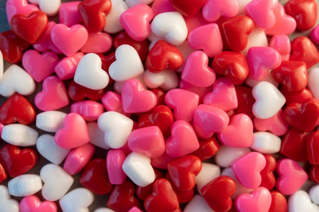 Red, pink and white love heart sweets
