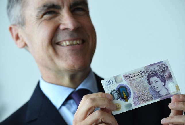 Governor of the Bank of England, Mark Carney, unveils the full design of the new £20 note