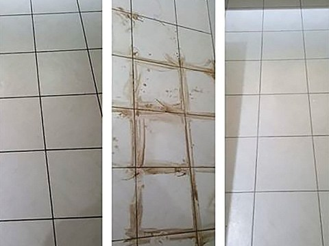 Mum uses £5 Vanish washing powder to transform tiled floors and make grout look like new