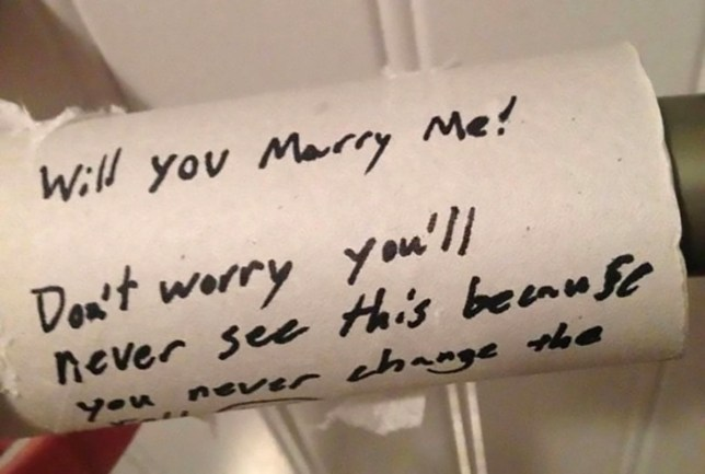 Picture: Facebook Man proposes on empty loo roll to take the mick out of girlfriend who never cleans https://www.facebook.com/groups/605061349942268/?ref=nf_target&fref=nf