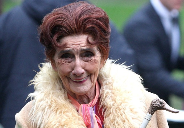 Mandatory Credit: Photo by Beretta/Sims/REX (1288568q) Dot Cotton played by June Brown Filming the 'EastEnders' wedding of Tanya Branning and Greg Jessop, London, Britain - 22 Feb 2011