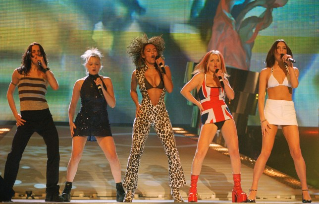 British all-girl singing group the Spice Girls at the Brit Awards, where they won in the Best Video and Best Single categories, 24th February 1997. Left to right; Mel C, Emma Bunton, Mel B, Geri Halliwell and Victoria Adams (later Beckham), aka. Sporty, Baby, Scary, Ginger and Posh, respectively. (Photo by Dave Benett/Getty Images)