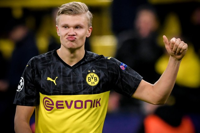 epa08226828 Dortmund's Erling Haaland reacts after winning the UEFA Champions League round of 16 first leg soccer match between Borussia Dortmund and Paris Saint-Germain in Dortmund, Germany, 18 February 2020. EPA/SASCHA STEINBACH