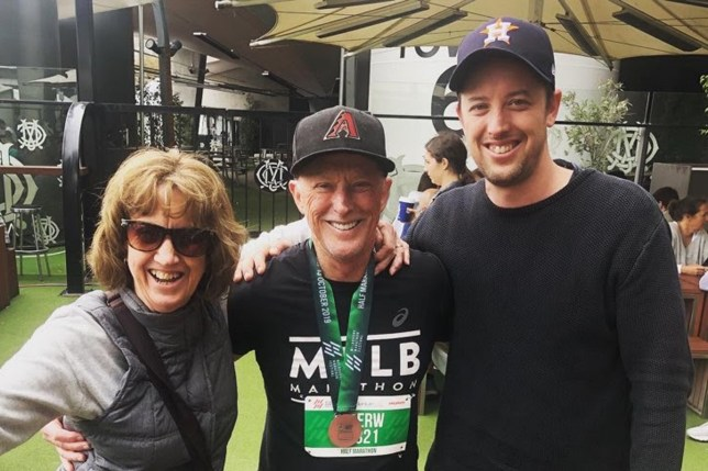 Peter Wilson, 68, from Melbourne, Australia, at the 2019 Melbourne Half Marathon with wife Isabel and son