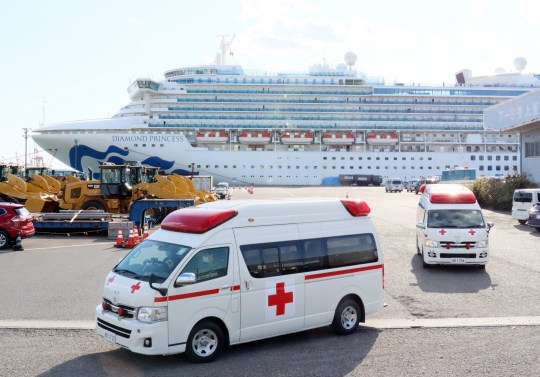 Ambulance cars leave from a cruise ship Diamond Princess at the Daikoku pier in Yokohama, sububan Tokyo on Tuesday, February 18, 2020. 88 more people on the Diamond Princess have tested positive for the new coronavirus COVID-19 on February 18, total 542 passengers and crews have found at the ship. (Photo by Yoshio Tsunoda/AFLO) Pictured: GV,General View Ref: SPL5150037 180220 NON-EXCLUSIVE Picture by: Yoshio Tsunoda/AFLO / SplashNews.com Splash News and Pictures Los Angeles: 310-821-2666 New York: 212-619-2666 London: +44 (0)20 7644 7656 Berlin: +49 175 3764 166 photodesk@splashnews.com Canada Rights, Ireland Rights, Germany Rights, United Kingdom Rights, United States of America Rights