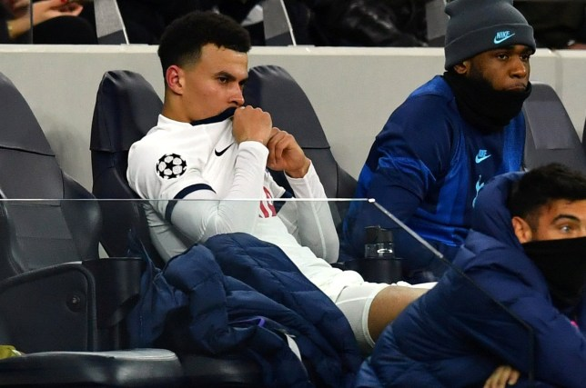 Soccer Football - Champions League - Round of 16 First Leg - Tottenham Hotspur v RB Leipzig - Tottenham Hotspur Stadium, London, Britain - February 19, 2020 Tottenham Hotspur's Dele Alli looks dejected on the bench after he comes off as a substitute REUTERS/Dylan Martinez