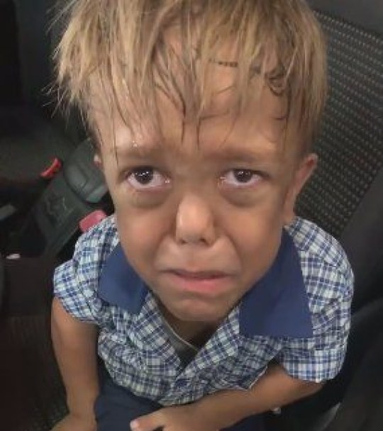 Nine-year-old schoolboy Quaden Bayles, nine, from Brisbane, Australia, crying in his mum's car because he was bullied at school