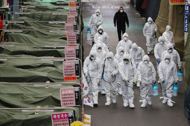 TOPSHOT - Market workers wearing protective gear spray disinfectant at a market in the southeastern city of Daegu on February 23, 2020 as a preventive measure after the COVID-19 coronavirus outbreak. - South Korea reported two additional deaths from coronavirus and 123 more cases on February 23, with nearly two thirds of the new patients connected to a religious sect. The national toll of 556 cases is now the second-highest outside of China. (Photo by - / YONHAP / AFP) / - South Korea OUT / REPUBLIC OF KOREA OUT NO ARCHIVES RESTRICTED TO SUBSCRIPTION USE (Photo by -/YONHAP/AFP via Getty Images)