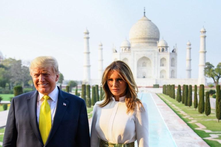Photo of Trump and Melania at Taj Mahal