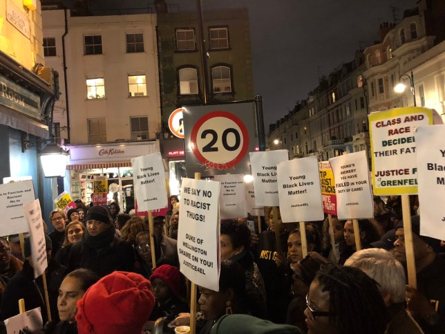 (Picture: Stand Up to Racism) Amazingly powerful #Justice4El protest last night - a disgrace that Duke of Wellington Pub in Ladbroke Grove failed so badly in its duty of care when a a young black member of staff was racially abused & assaulted - if management don?t speak to the family protestors will return!