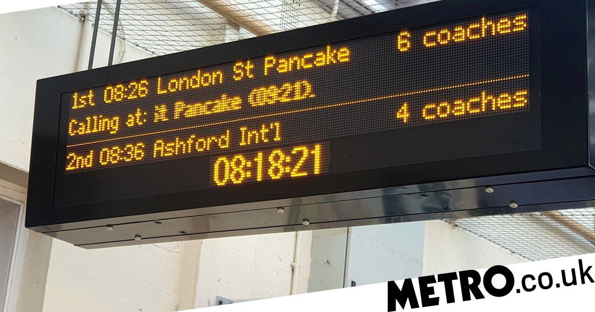 South Eastern Rail rename the station London St Pancake for Shrove Tuesday