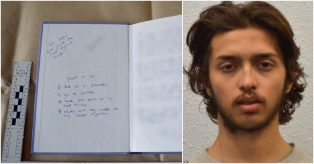 Terrorist's notebook reveals 'goals in life' before stabbing two in Streatham