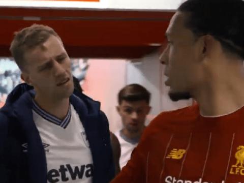 West Ham new-boy Tomas Soucek looks devastated after Virgil van Dijk snubs shirt swap