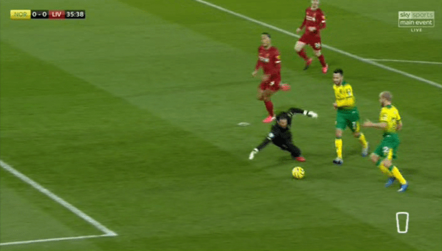 Liverpool goalkeeper Alisson got down low to deny Teemu Pukki at Norwich