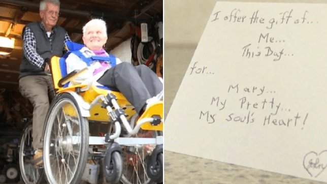 Photo of John Sevanick and wife Mary next to photo of love note written to Mary from John