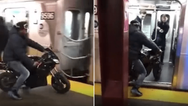 Grabs of motorcyclist driving his bike onto a New York City Subway train