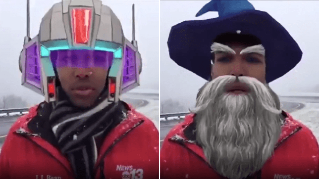Grabs of Justin Hinton with space helmet and wizard filters