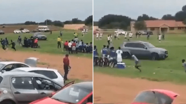 A video circulating online shows the unidentified individual drive a BMW at speed in a straight line down the field, as a group of fans scurry to avoid being hit at an ABC Motsepe League game at Letlhabile Sports ground in Brits in the North West on Sunday.