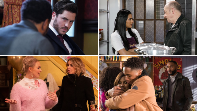 Gray and Mitch in EastEnders, Alya and Geoff in Coronatino Street, Tracy and Charity in Emmerdale, Toby, Mitchell and Martine in Hollyoaks
