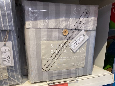 Sainsbury's sells 'sustainable' bed sheets with plastic wrapping that is removed by staff for display