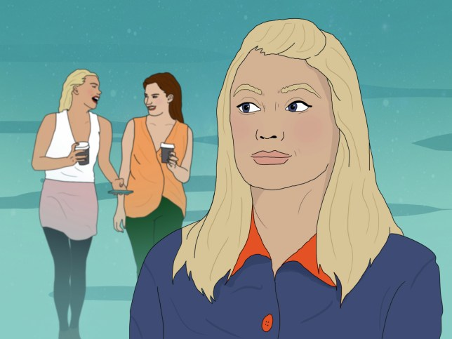 Illustration of a woman looking back towards two other women having a coffee and walking
