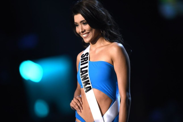 Ornella Gunesekere of Sri Lanka competes in the swimsuit competition during the 2018 Miss Universe pageant in Bangkok on December 13, 2018. (Photo by Lillian SUWANRUMPHA / AFP)        (Photo credit should read LILLIAN SUWANRUMPHA/AFP via Getty Images)