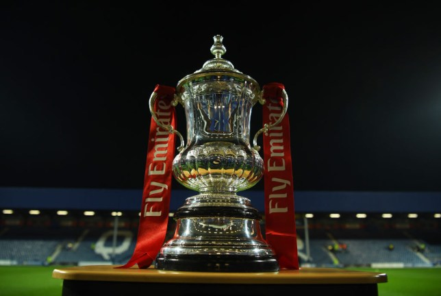 FA Cup trophy is pictured just before a game