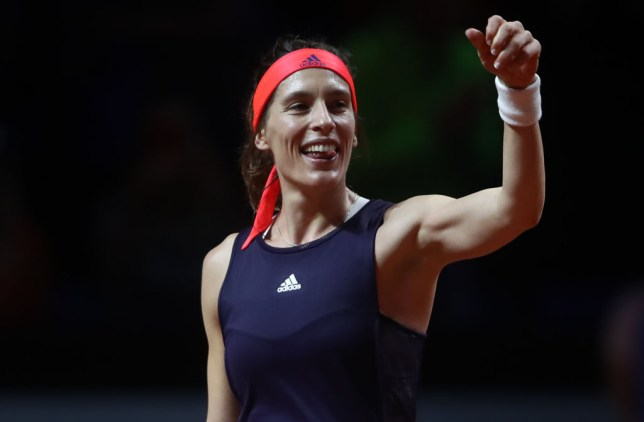 STUTTGART, GERMANY - APRIL 23: Andrea Petkovic of Germany celebrates winning her first round match against Sara Sorribes Tormo of Spain on day 2 of the Porsche Tennis Grand Prix at Porsche-Arena on April 23, 2019 in Stuttgart, Germany. (Photo by Alex Grimm/Getty Images)