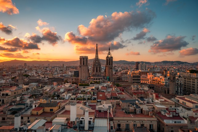 The Cathedral of the Holy Cross and Saint Eulalia, also known as Barcelona Cathedral, in Barcelona, Catalonia, Spain.