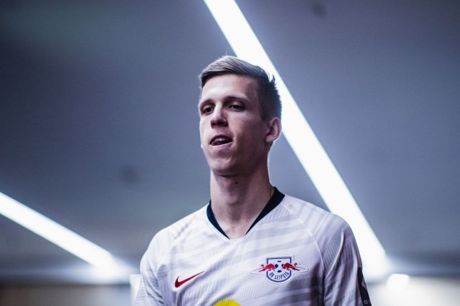 Dani Olmo is pictured emerging from the tunnel before a RB Leipzig game