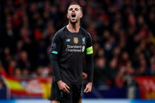 MADRID, SPAIN - FEBRUARY 18: Jordan Henderson of Liverpool FC during the UEFA Champions League  match between Atletico Madrid v Liverpool at the Estadio Wanda Metropolitano on February 18, 2020 in Madrid Spain (Photo by David S. Bustamante/Soccrates/Getty Images)