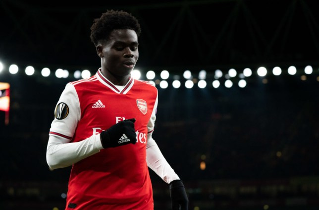 LONDON, ENGLAND - FEBRUARY 27: Arsenal's Bukayo Saka during the UEFA Europa League round of 32 second leg match between Arsenal FC and Olympiacos FC at Emirates Stadium on February 27, 2020 in London, United Kingdom. (Photo by Stephanie Meek - CameraSport via Getty Images)