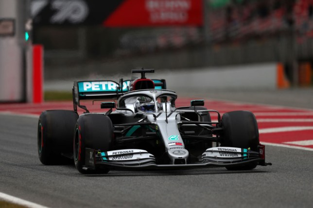 Mercedes F1 car on the track during testing