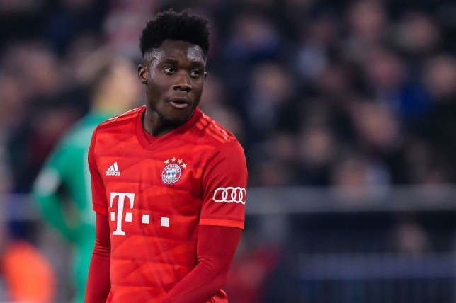 Alphonso Davies is pictured in action for Manchester United