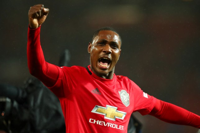 Odion Ighalo of Manchester United celebrates at full time during the Premier League match between Manchester United and Manchester City