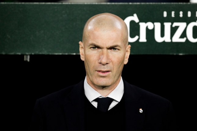 SEVILLA, SPAIN - MARCH 8: coach Zinedine Zidane of Real Madrid during the La Liga Santander  match between Real Betis Sevilla v Real Madrid at the Estadio Benito Villamarin on March 8, 2020 in Sevilla Spain (Photo by David S. Bustamante/Soccrates/Getty Images)