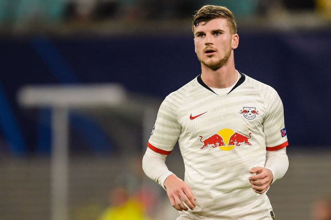 Liverpool and Chelsea transfer target Timo Werner in action for Leipzig against Tottenham