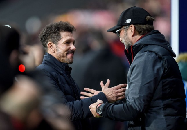 Diego Simeone and Jurgen Klopp shake hands before Liverpool's first-leg defeat at Atletico Madrid