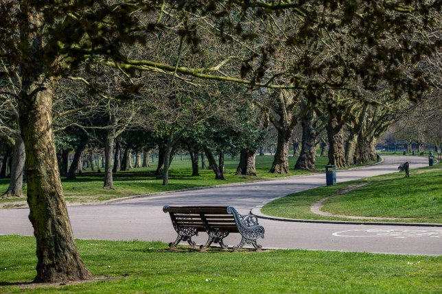 A pathway stands empty in the closed Victoria Park in east London amidst the UK lockdown.