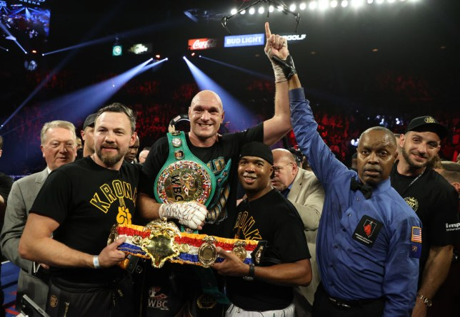 Andy Lee and SugarHill Steward celebrated with Tyson Fury after he beat Deontay Wilder
