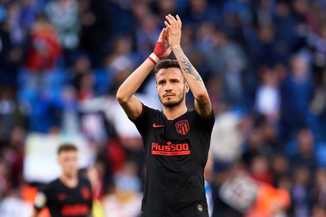 BARCELONA, SPAIN - MARCH 01: Saul Niguez of Atletico de Madrid applauds Atletico de Madrid supporters after the Liga match between RCD Espanyol and Club Atletico de Madrid at RCDE Stadium on March 01, 2020 in Barcelona, Spain. (Photo by Alex Caparros/Getty Images)