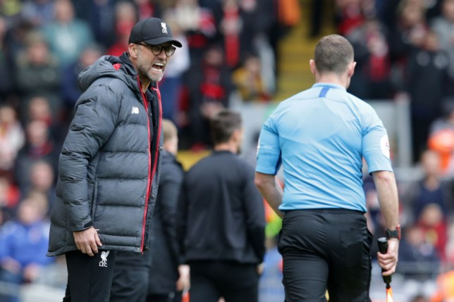 Jurgen Klopp rages at the referee during a Liverpool game