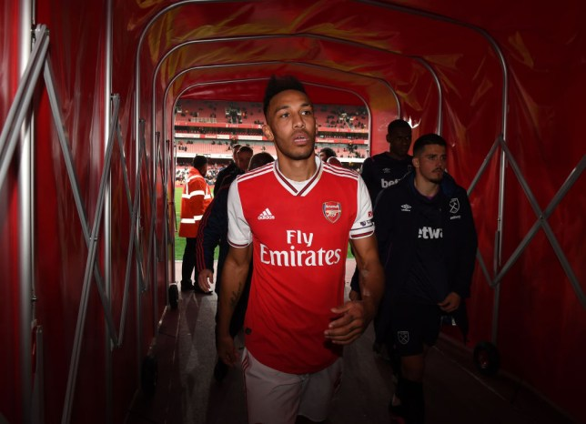 LONDON, ENGLAND - MARCH 07: Pierre-Emerick Aubameyang of Arsenal after the Premier League match between Arsenal FC and West Ham United at Emirates Stadium on March 07, 2020 in London, United Kingdom. (Photo by Stuart MacFarlane/Arsenal FC via Getty Images)