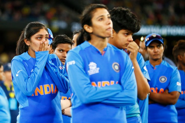 India look dejected after the ICC Women's T20 Cricket World Cup Final match between India and Australia