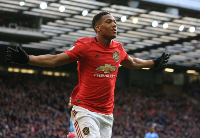 Anthony Martial scored the opening goal in Sunday's Manchester derby win