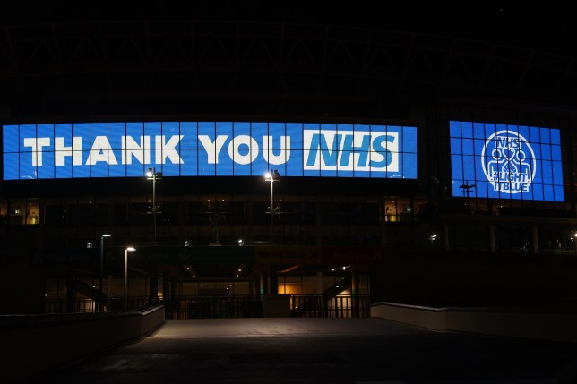 Wembley way is seen thanking the NHS on March 26, 2020 in London, United Kingdom.